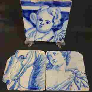 Lot of 3 Antique Delft Blue And White Tiles Very Early