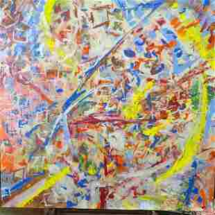 Signed Oil On Canvas Abstract Painting