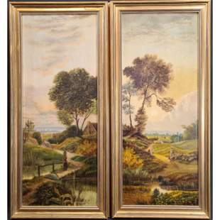 A Pair Of 19th C O/C Landscape Painting Signed