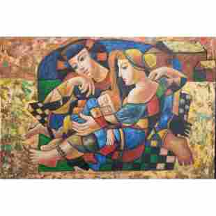 Oil On Canvas Cubist Painting Signed