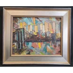 Impressionist Cubist Cityscape Painting New York City