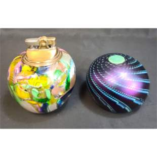 Lot of 2 Art Glass Paperweight / Lighter Signed Roland