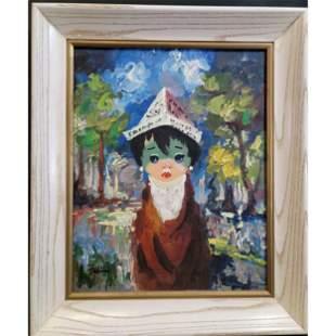 Signed Mid Century Modern Portrait Painting Large Eyes