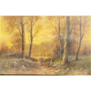 19th Century O/C Landscape Painting With Figures