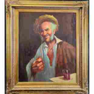 Old Oil On Canvas Portrait Painting Of A Man Signed