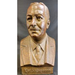 Antique Bronze Bust Sculpture  Signed Karl Schunemann