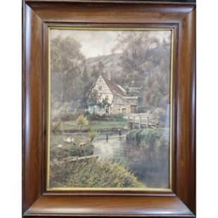 A Nice Antique Pastel / Watercolor? Landscape Painting