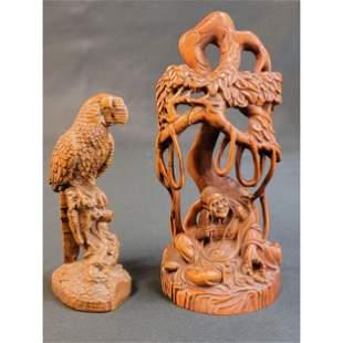 Chinese Boxwood Buddha Sculpture & Burlwood Bird