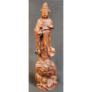 Chinese Boxwood Buddha Sculpture Kwan Yin W/  Scepter
