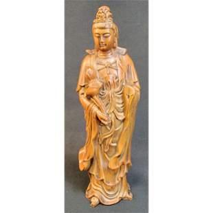 Chinese Boxwood Buddha Sculpture Kwan Yin