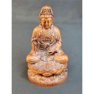 Chinese Boxwood Buddha Sculpture Kwan Yin On A Lotus