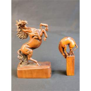 Chinese Boxwood Sculpture 2 Horses
