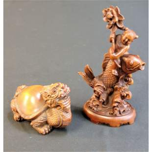 2 Chinese Boxwood Sculptures Dragon Turtle, Boy & Fish