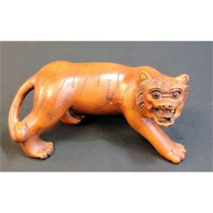 Chinese Boxwood Sculptures Tiger