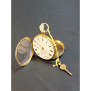 Antique 18K Gold Watch 1824 Fusee William IV? W/ KEY