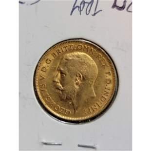 1913 British Gold Coin 1/2 Sovereign