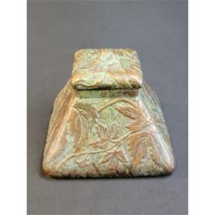 Antique Tiffany Studios Bronze Ink Well Pyramid Shape
