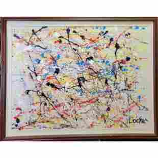 Large Unusual Abstract Painting Oil On Canvas Signed