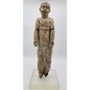 17Th C Sino Tibetan Wood Carved Infant Buddha