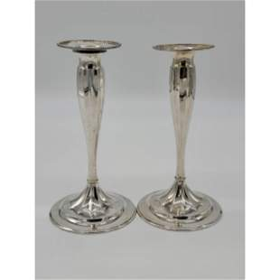 Pair Of Tiffany & Co Sterling Silver Candlesticks 692 G