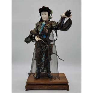 Monumental Chinese Silver Filigree Standing Mulan 1900