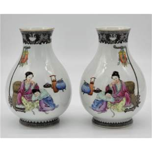 Pair Of Fine Chinese Porcelain Vases 1950 Jing De Zhen