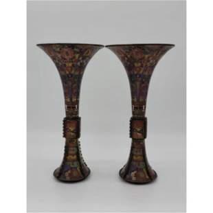 Chinese Cloisonné Gu / Beaker Form Vases Prob. 17-18 C