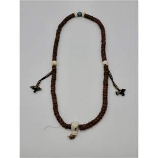 Antique Tibetan Prayer Beads W/ Double Bronze Varjas