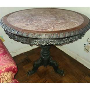 Beautiful Chinese Rosewood Table with Marble Top 19 C