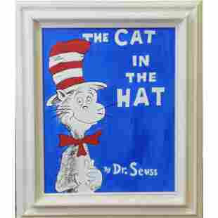 "Oil On Canvas Painting By Dr Seuss ""THE CAT IN THE HAT"""