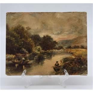 Antique O/C Landscape Painting Laid On Cardboard