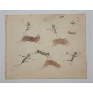 Bill Traylor 1854-1949 Folk Art Painting Signed