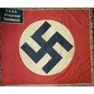 World War II German Flag NSBO Ortsgruppe Harsewinkel.