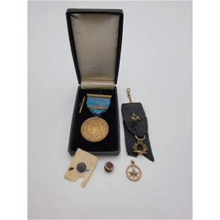 14K Gold Masonic Pendant Plus Bronze Medal Pins