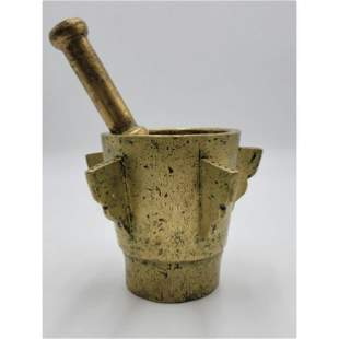 Ancient Bronze Mortar And Pestle 10.6 Lbs.