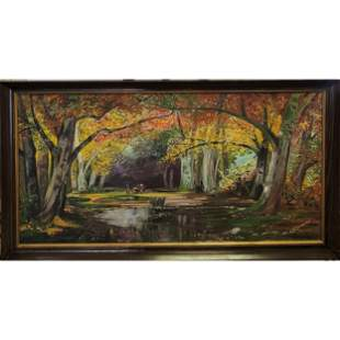 Oil on Canvas Landscape Painting signed C B Conover