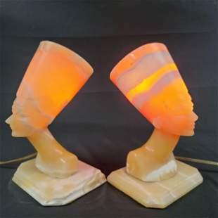 Pair Of Vintage Art Deco Alabaster Head Bust Lamps