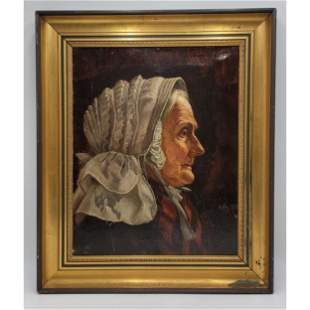 19th C Oil On Canvas Portrait Painting Of An Old Woman