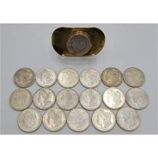 18 Morgan Silver Dollars 1881S, 1921S, 1921D, 1883O