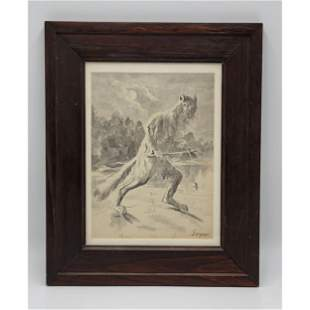 Antique Watercolor Painting Signed Goya On Woven Paper