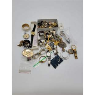 Grouping Of Vintage Costume Jewelry Sterling & Watches