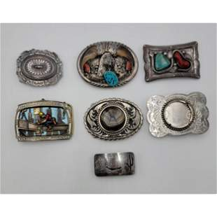 A Group Of Navajo Sterling Silver Belt Buckles Signed