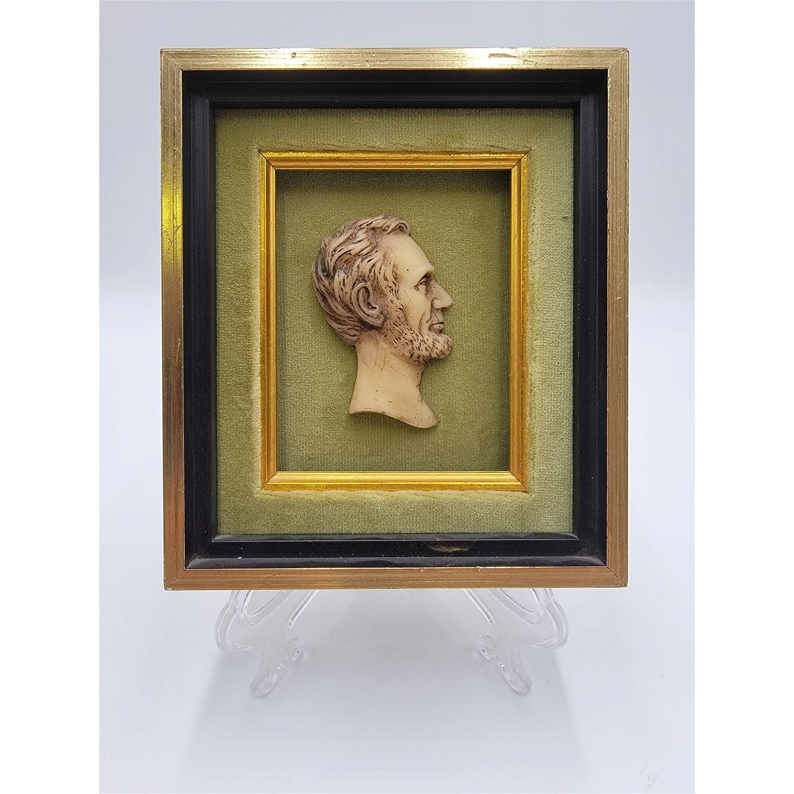 Antique Framed Wax Profile of Abraham Lincoln