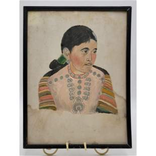 Native American Navajo Woman Portrait Painting
