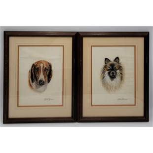 Pair Of Dog Portraits Drawings Charcoal & Crayon Signed