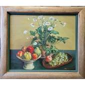 Oil On Canvas Still Life Painting 20th C Signed