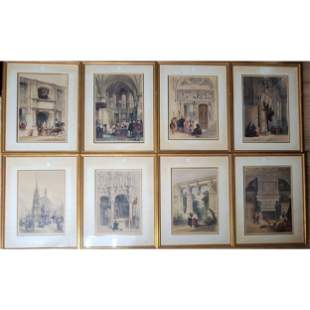 Set Of 8 Colored Lithographs 19th Century.