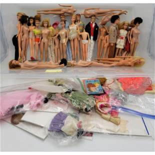 Large Vintage Barbie Doll Lot And Tagged Clothing