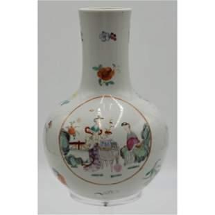 A Nice Chinese Famille Rose Bottle Vase Qianlong Mark
