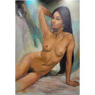 Signed Oil On Canvas Nude Study Portrait